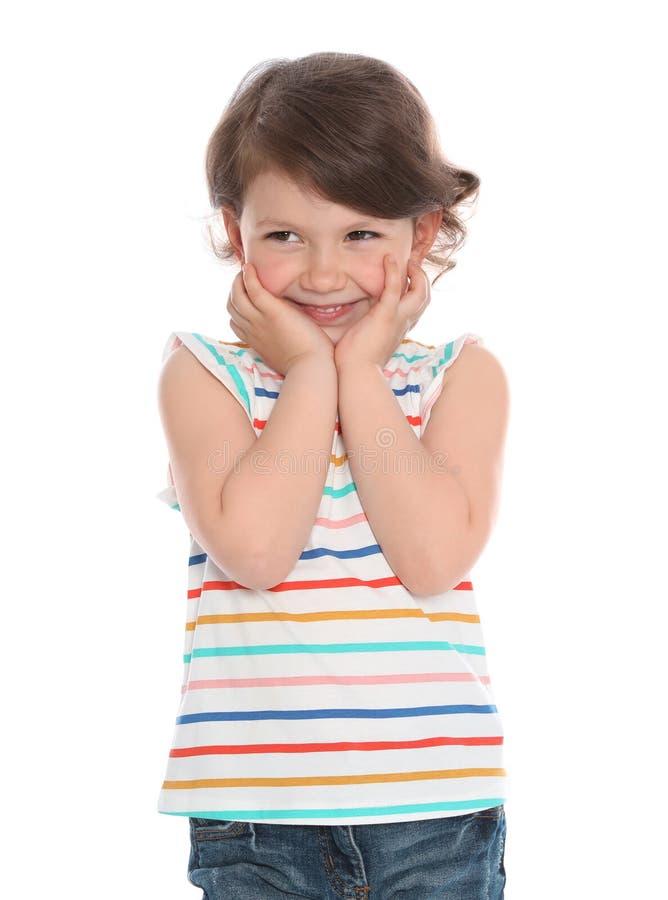 Portret szczęśliwa mała dziewczynka w przypadkowym stroju fotografia royalty free