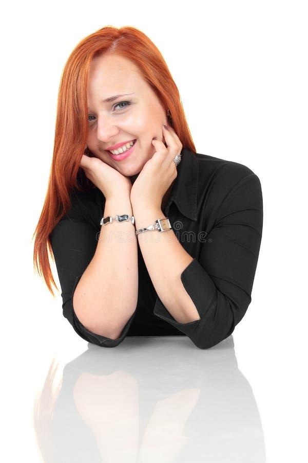 Portret szczęśliwa ono uśmiecha się rozochocona młoda biznesowa kobieta zdjęcia royalty free