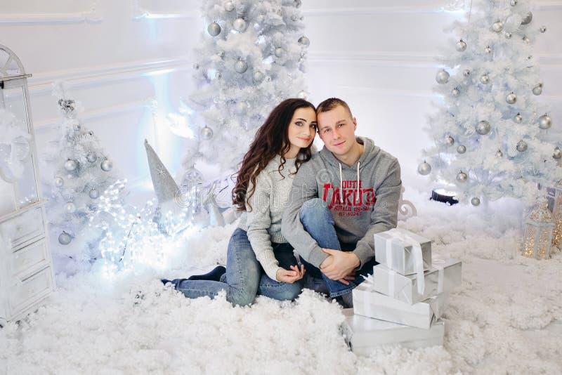 Portret szczęśliwa para małżeńska przy bożymi narodzeniami fotografia stock