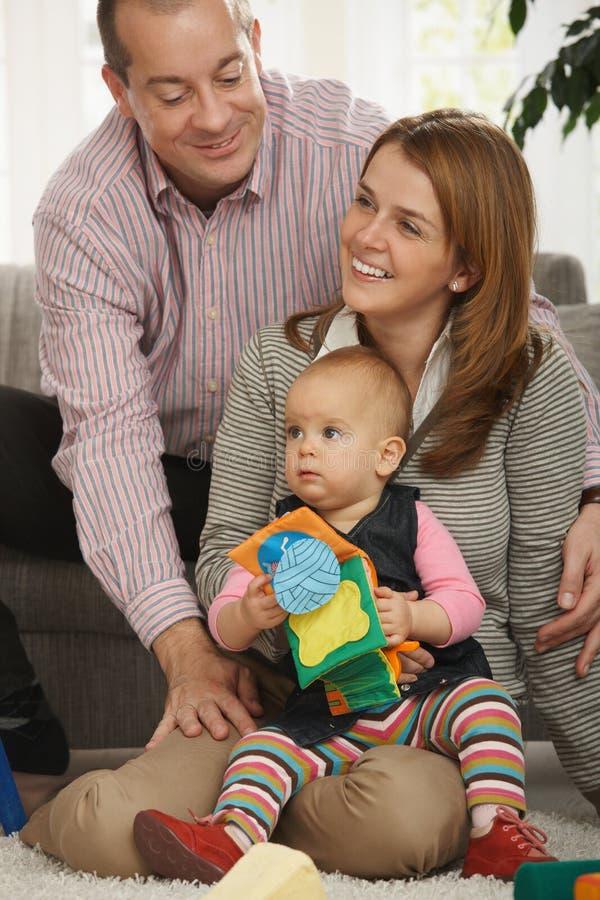 Portret szczęśliwa rodzina trzy zdjęcie stock
