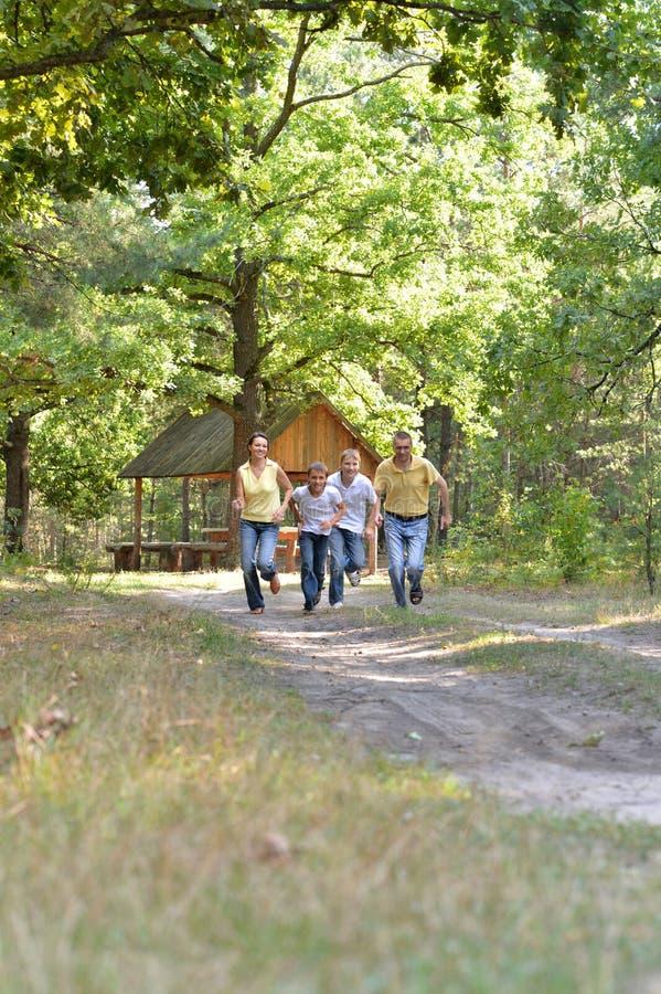 Portret szczęśliwa rodzina składająca się z czterech osób w jesień parka bieg zdjęcie royalty free