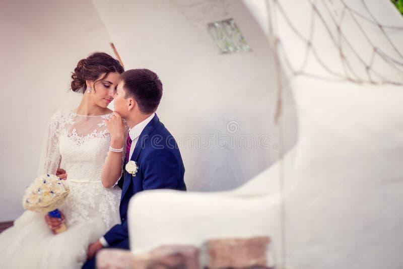 Portret Szczęśliwa Zamężna Młoda ślub para Plenerowa z kopii przestrzenią zdjęcie royalty free