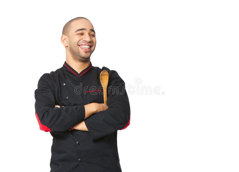 Portret szczęśliwego Afro profesjonalisty Amerykański kucharz odizolowywający obraz stock