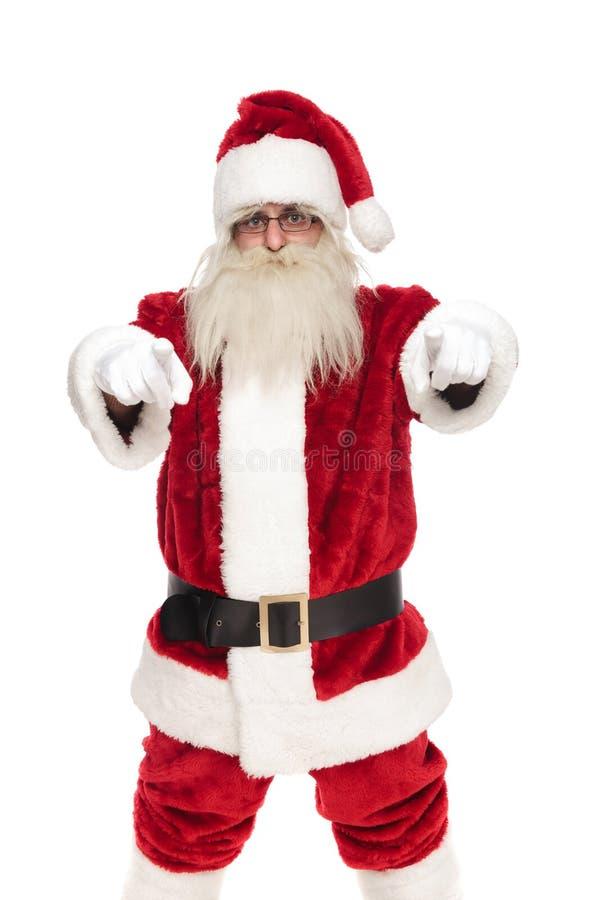 Portret szczęśliwy świątobliwy nick wskazuje palce zdjęcia stock