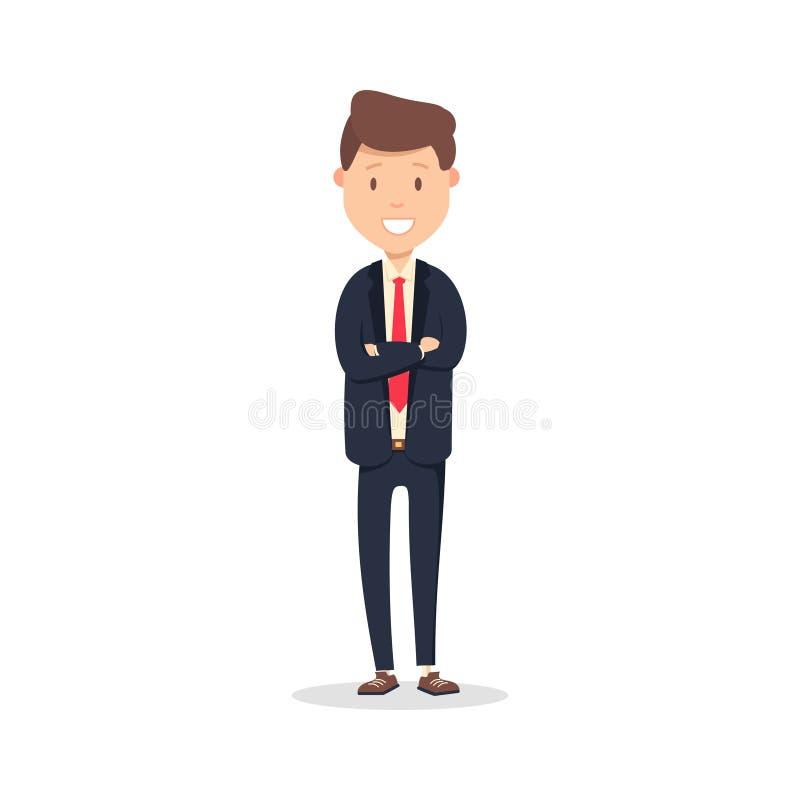 Portret szczęśliwy biznesmen z rękami krzyżował pozycję Młoda szczęśliwa biznesmen ilustracja odizolowywająca na bielu ilustracji