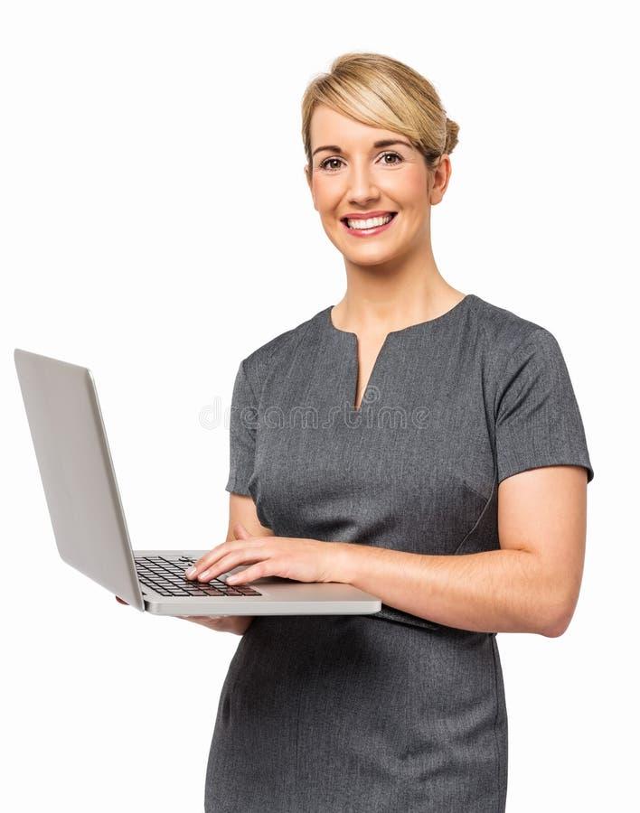 Portret Szczęśliwy bizneswoman Używa laptop fotografia stock