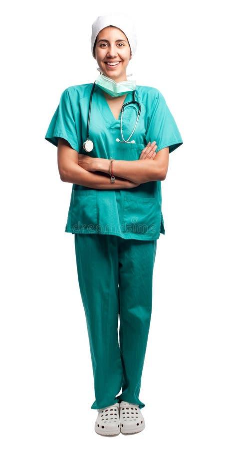 Portret szczęśliwy chirurg obraz stock