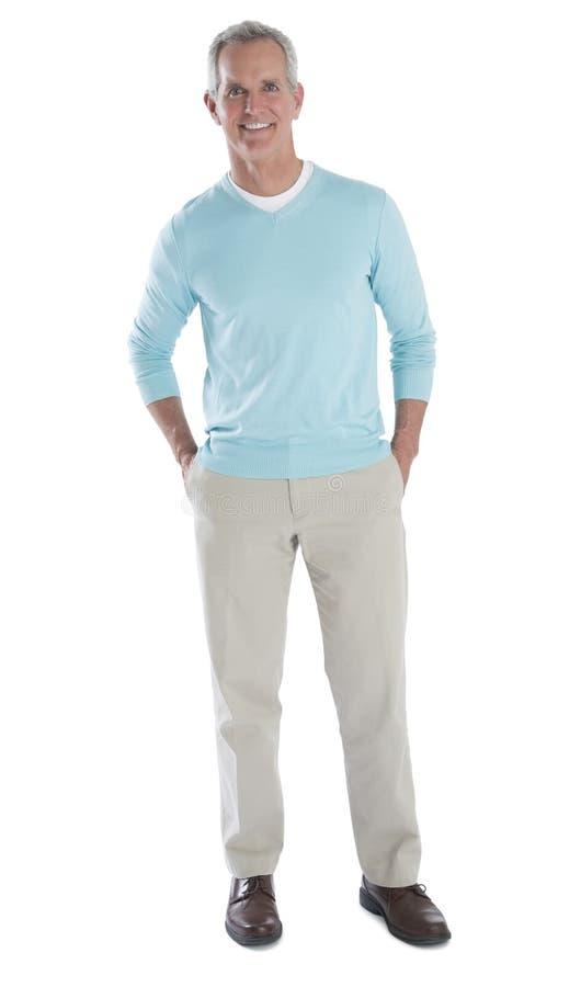 Portret Szczęśliwy Dorośleć mężczyzna W Mądrze Przypadkowym zdjęcia stock
