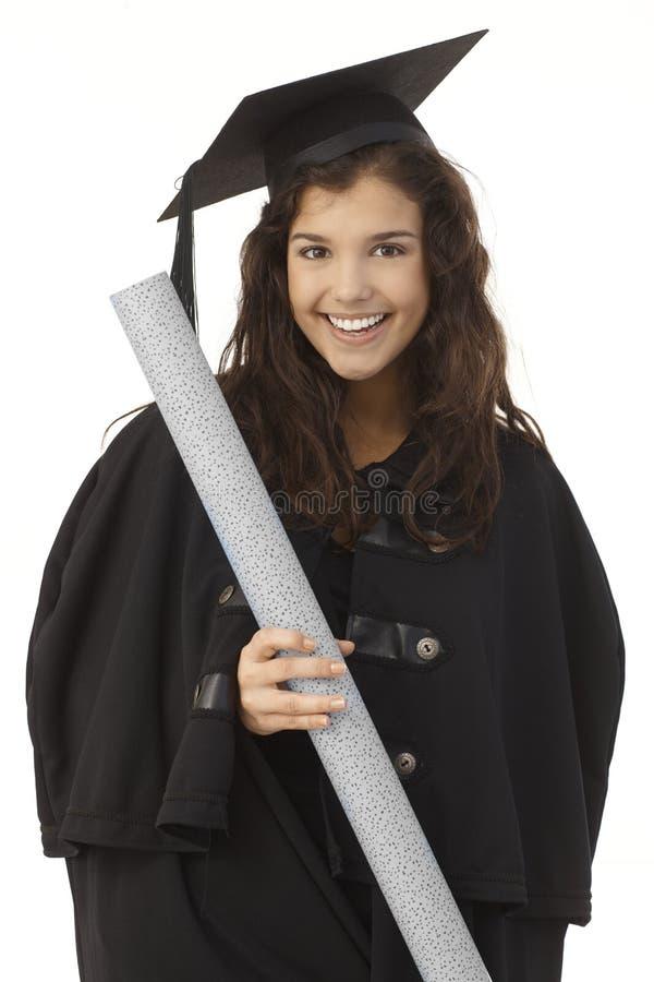 Portret szczęśliwy kobieta absolwent obraz royalty free