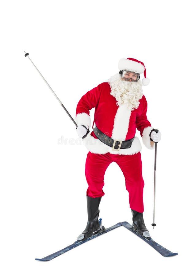 Portret szczęśliwy Santa Claus narciarstwo zdjęcie royalty free