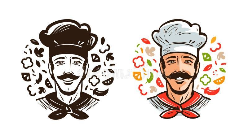 Portret szczęśliwy szef kuchni, kucharz Kuchnia, kulinarny logo lub etykietka, obcy kreskówki kota ucieczek ilustraci dachu wekto royalty ilustracja