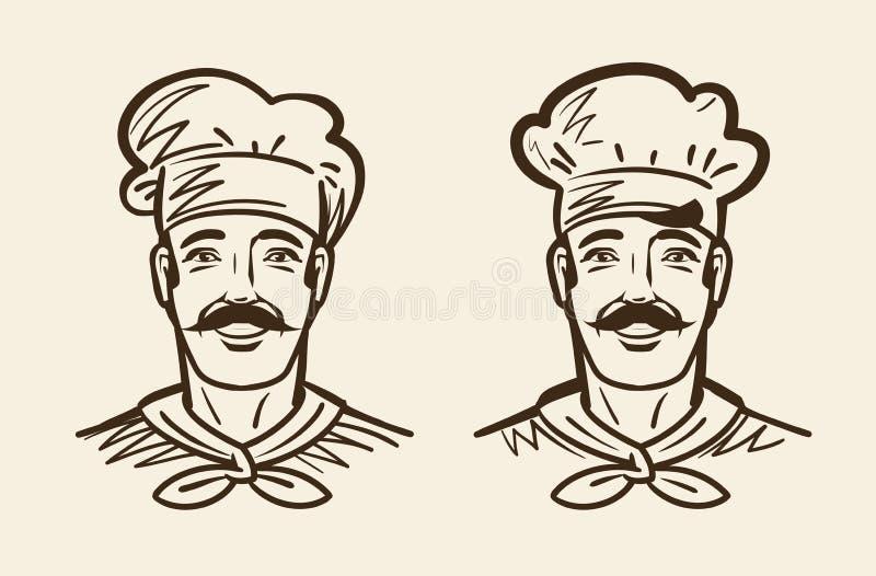 Portret szczęśliwy szef kuchni, kucharz Nakreślenie rocznika wektoru ilustracja ilustracji