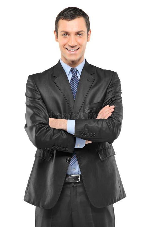 Portret szczęśliwy uśmiechnięty młody biznesmen obraz stock