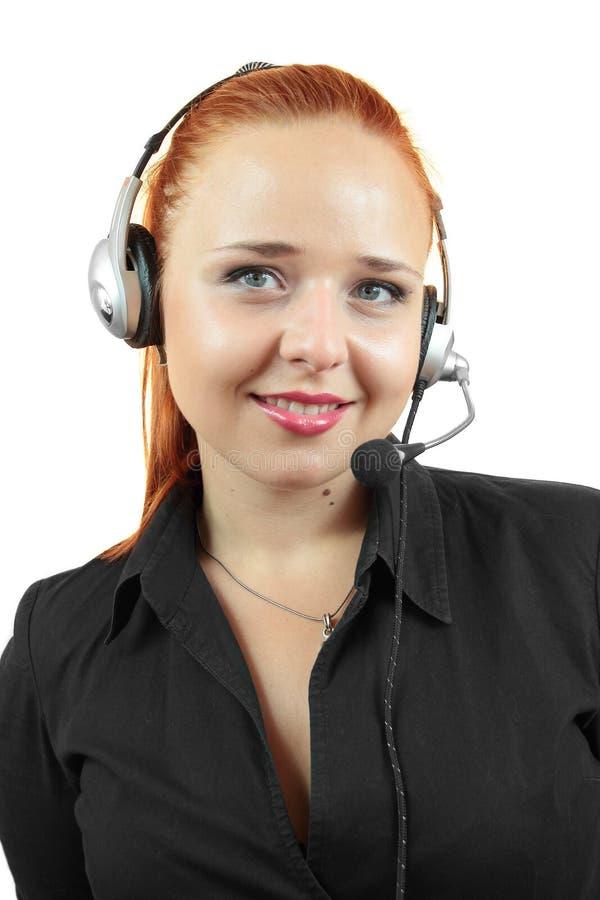 Portret szczęśliwy uśmiechnięty rozochocony poparcie telefonu operator w słuchawki obraz royalty free