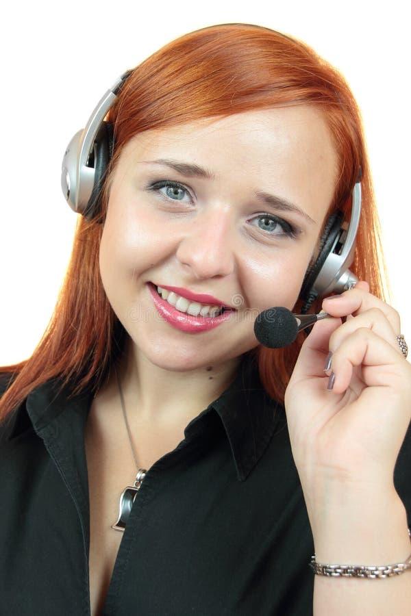 Portret szczęśliwy uśmiechnięty rozochocony poparcie telefonu operator w słuchawki zdjęcia stock