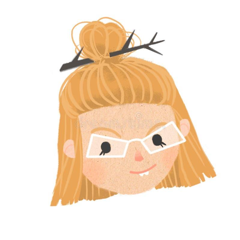 Portret szczwana miedzianowłosa dziewczyna w białych szkłach royalty ilustracja