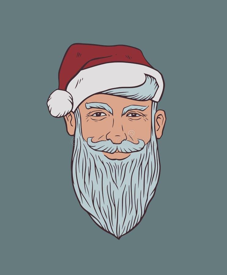 Portret Szczwany Uśmiechnięty siwobrody mężczyzna w Święty Mikołaj kapeluszu ilustracja wektor