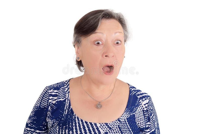 Portret szokujący starsza kobieta zdjęcie stock