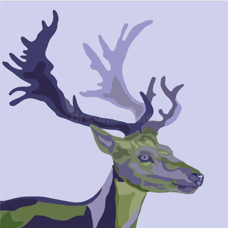 Portret tajemniczy mistyczny jeleni duch lasowa zieleń purpury i ilustracji