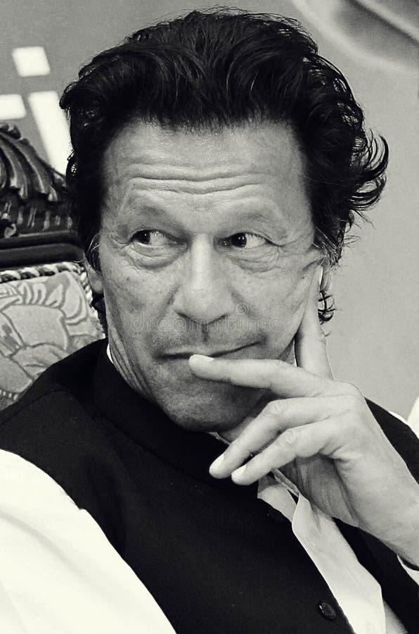 Portret - Tehreek-e-insaf przewodniczącego Imran Khan ono uśmiecha się zdjęcia stock