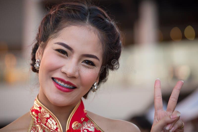 Portret Thais Meisje Bangkok, Thailand royalty-vrije stock afbeelding
