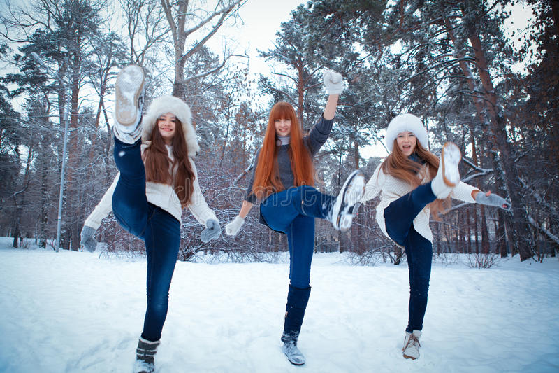 Portret trzy pięknej dziewczyny w zima parku obrazy royalty free