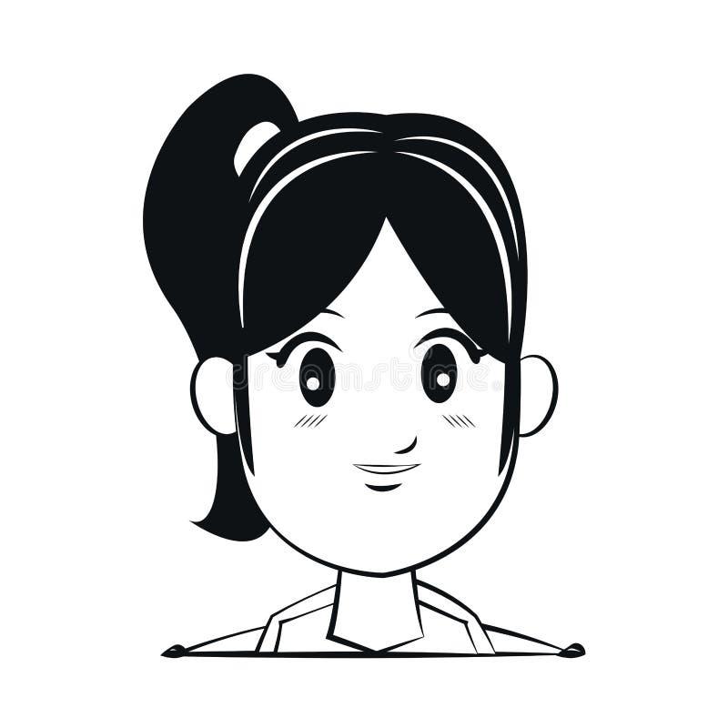 Portret twarzy kobiety ogonu włosiany kontur ilustracji