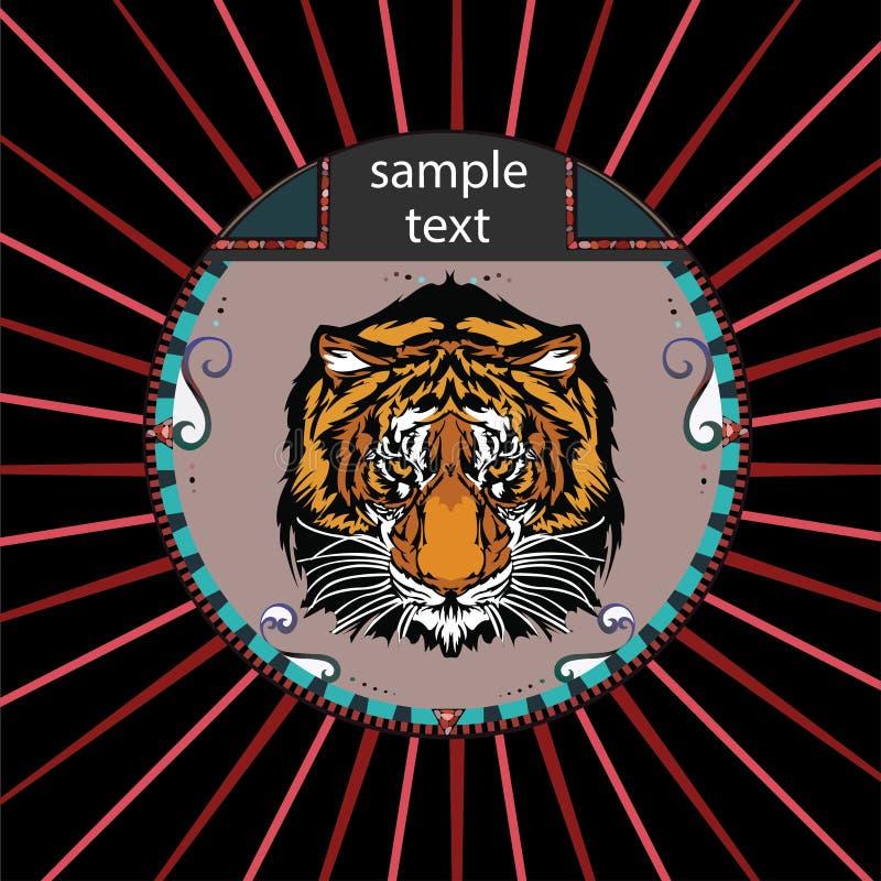 Portret tygrys w okręgu royalty ilustracja