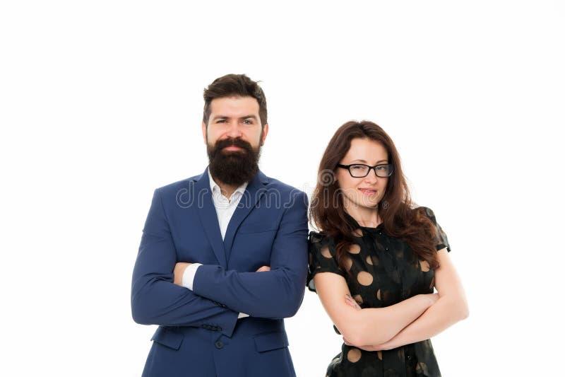 Portret uśmiechnięci partnery biznesowi Partner biznesowy para odizolowywająca na bielu biznesmeni szczęśliwi Partnerstwo i obrazy royalty free