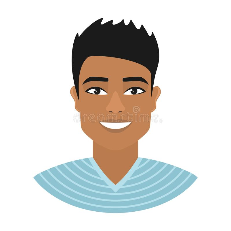 Portret uśmiechnięty Azjatycki mężczyzna w błękitnej pasiastej koszula ilustracja wektor