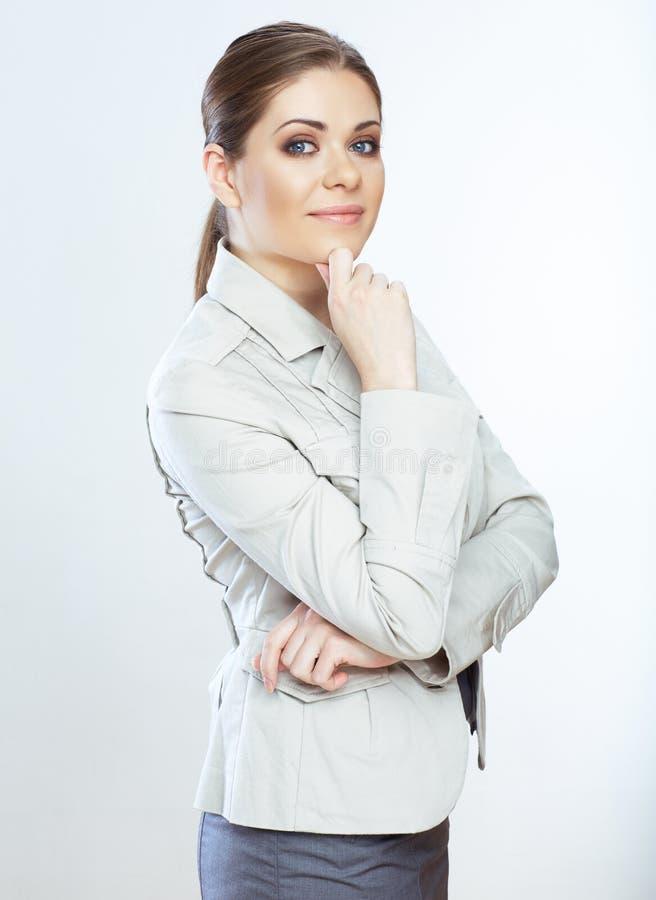 Portret uśmiechnięta biznesowa kobieta, odizolowywający na białym tle zdjęcie royalty free