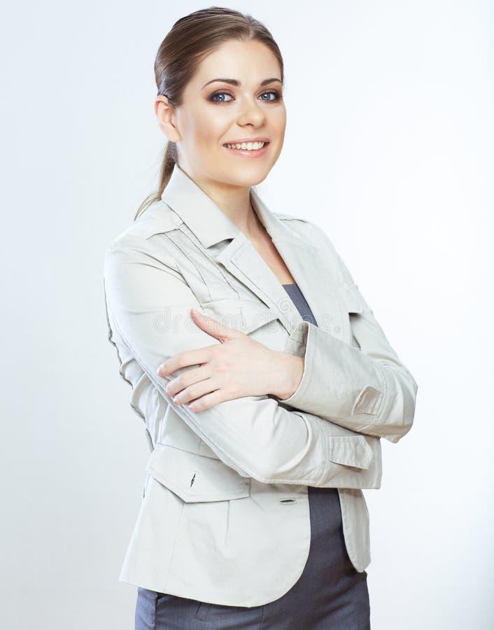 Portret uśmiechnięta biznesowa kobieta, odizolowywający na bielu zdjęcie stock