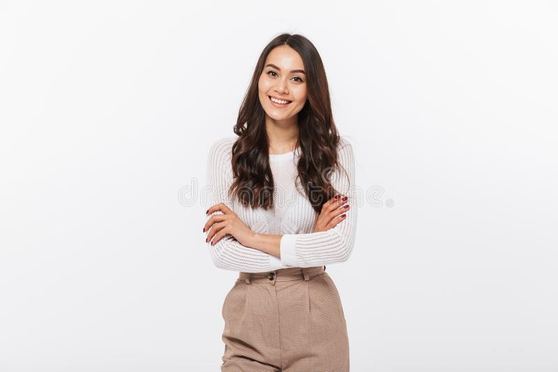 Portret uśmiechnięty azjatykci bizneswoman fotografia stock