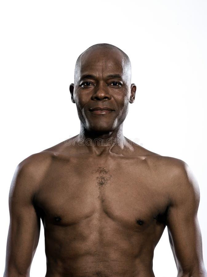 Portret uśmiechnięty bez koszuli mężczyzna obrazy royalty free