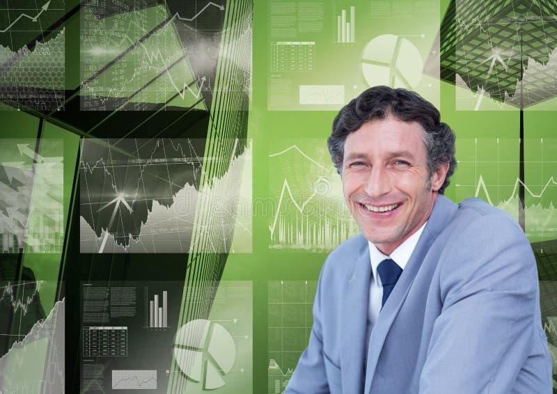 Portret uśmiechnięty biznesmen przeciw 3d wizerunkowi wykresu pasztetowy diagram i wzrostowe strzała ilustracji