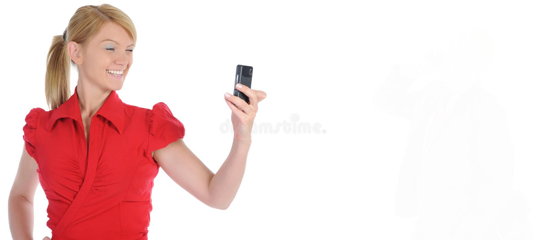 Portret uśmiechnięty biznesowej kobiety telefonu opowiadać zdjęcia royalty free