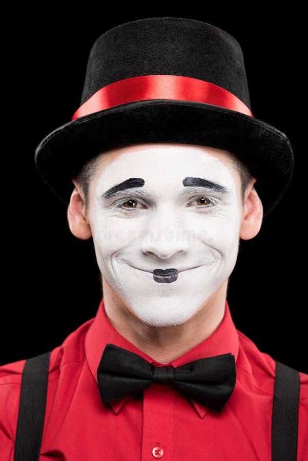portret uśmiechnięty mim z makeup zdjęcia stock