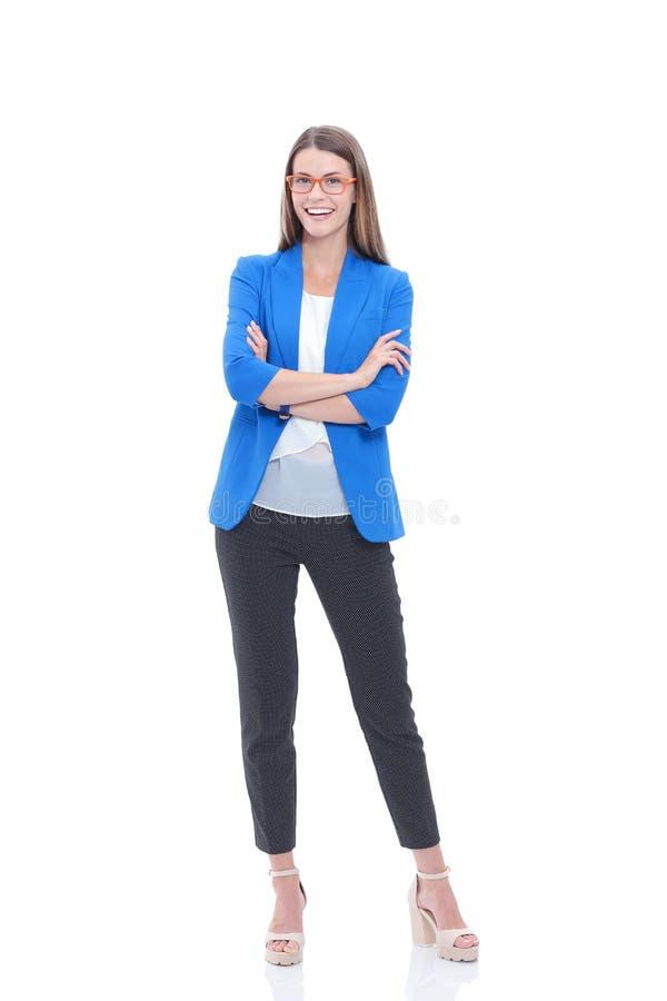 Portret ufna młodej kobiety pozycja odizolowywająca na białym tle obraz stock