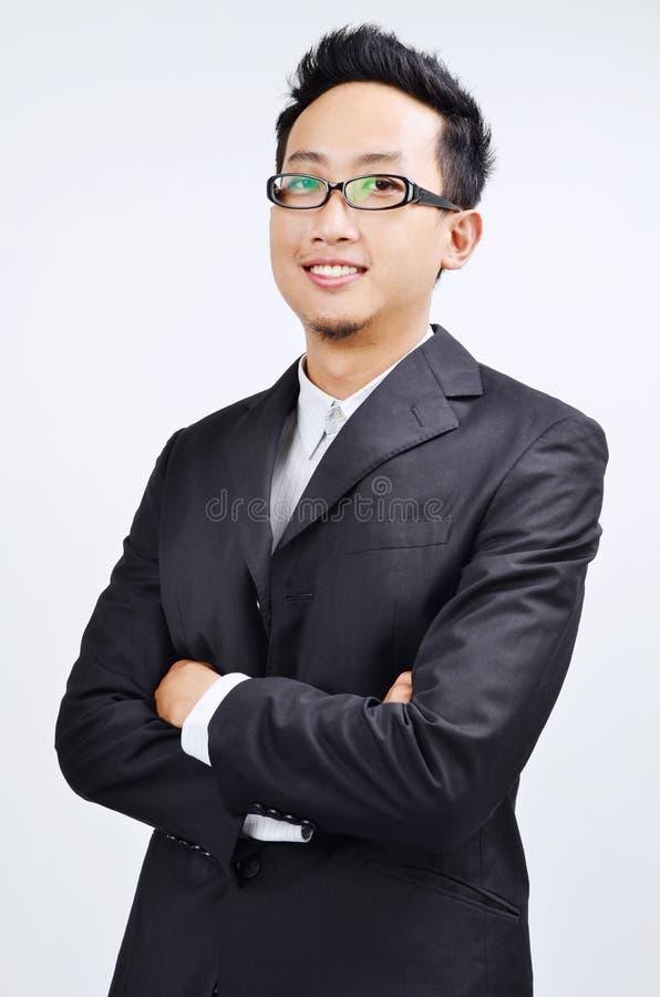 Portret ufny azjatykci biznesmen zdjęcie royalty free