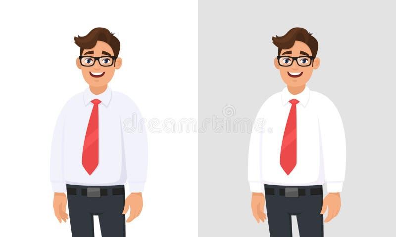 Portret ufny przystojny młody biznesmen jest ubranym białą koszula i czerwonego krawat, stojący przeciw bielowi, szarość i popiel ilustracja wektor