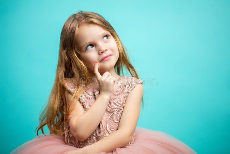 Portret urocza 4-letni stara dziewczyna w różowym princess sukni isol zdjęcie stock