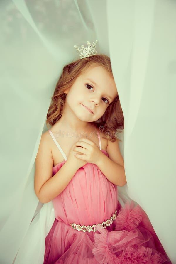 Portret urocza mała dziewczynka w menchii tiarze i sukni zdjęcia royalty free