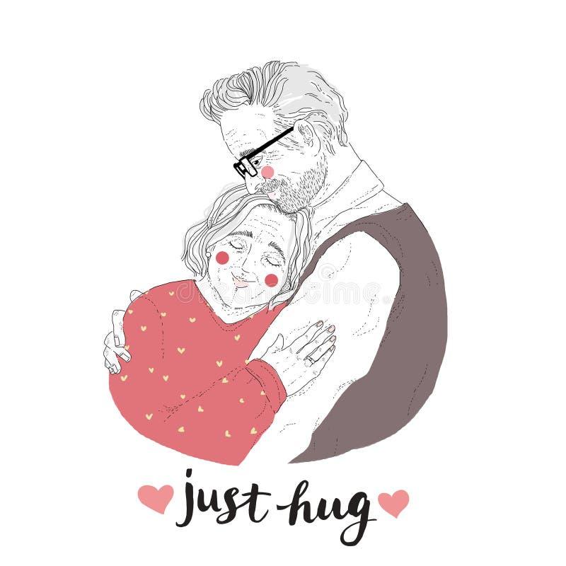 Portret urocza para stary człowiek i kobieta cuddling Rysować kochające starsze osoby dobiera się literowanie i Właśnie Ściska royalty ilustracja