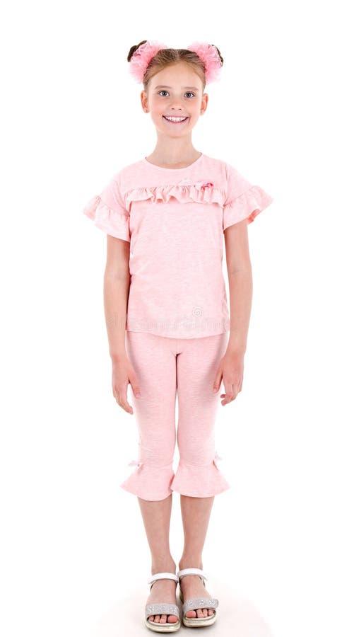 Portret uroczy uśmiechnięty małej dziewczynki dziecko odizolowywający obrazy royalty free