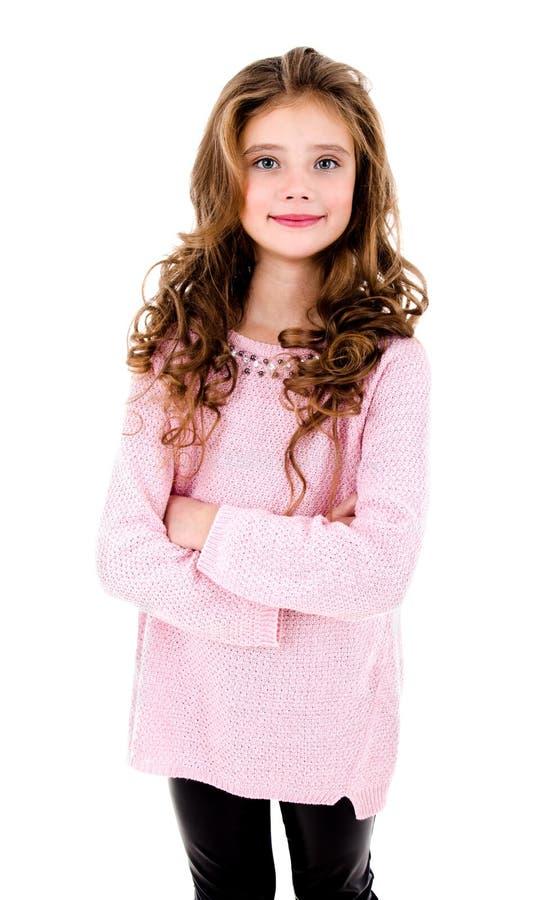 Portret uroczy uśmiechnięty małej dziewczynki dziecko odizolowywający zdjęcia royalty free
