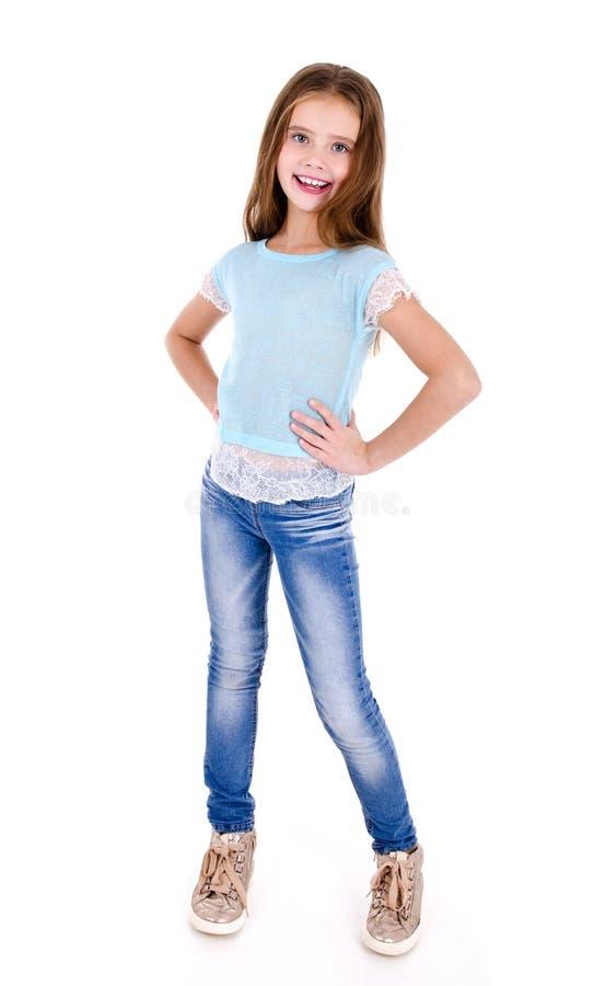 Portret uroczy uśmiechnięty szczęśliwy małej dziewczynki dziecko odizolowywający zdjęcie royalty free