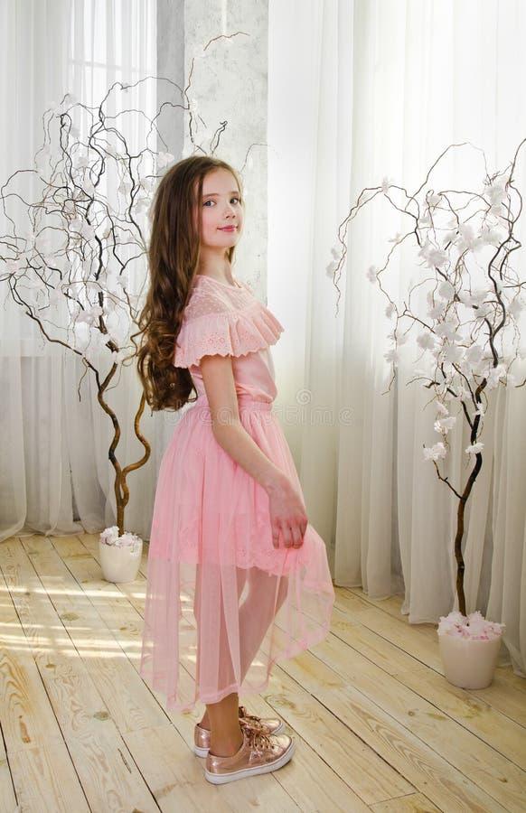 Portret van aanbiddelijk glimlachend bevindend meisjekind royalty-vrije stock fotografie