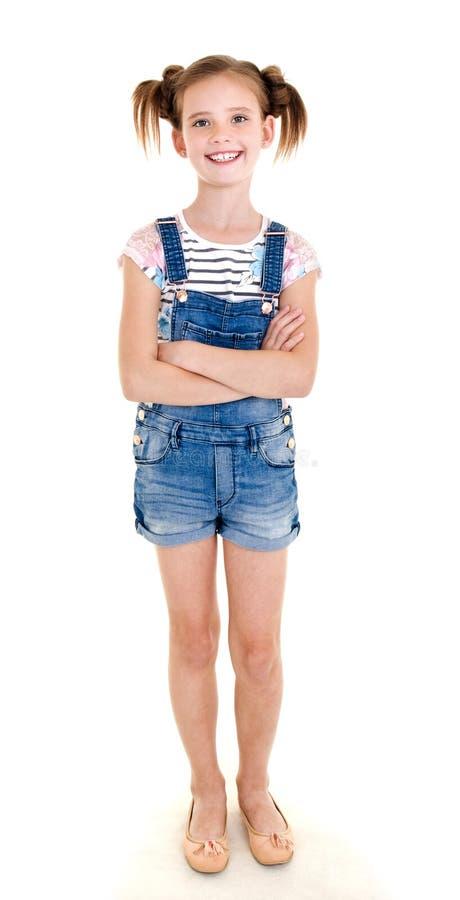 Portret van aanbiddelijk glimlachend geïsoleerd meisjekind stock fotografie