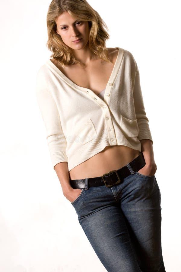 Portret van aantrekkelijke blond stock afbeelding