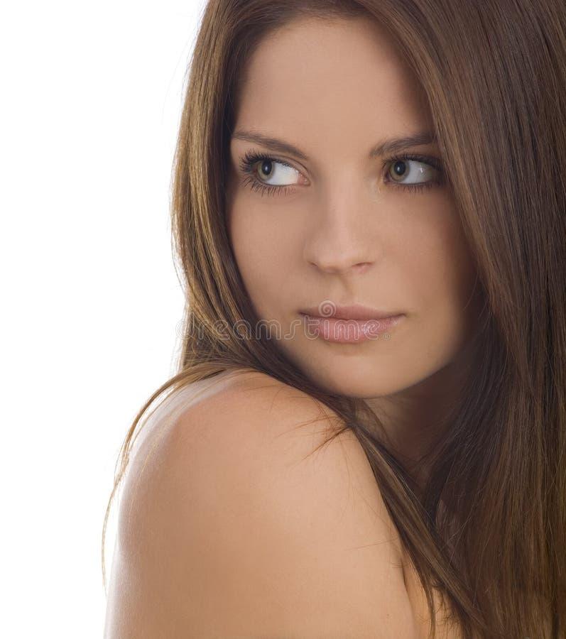 Portret van aantrekkelijke mooie jonge vrouw stock afbeeldingen